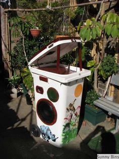 wheelie bin sound system. solar-powered awesomeness.