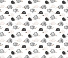 Scandinavian sweet hedgehog illustration for kids gender neutral black and white fabric by littlesmilemakers on Spoonflower - custom fabric