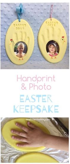 Handprint & Photo Easter Keepsake is part of Thanksgiving crafts Easter Eggs - Handprint & Photo Easter Keepsake, a great keepsake idea to do with the kids, perfect for Easter! Fun Diy Crafts, Baby Crafts, Toddler Crafts, Holiday Crafts, Holiday Fun, Decor Crafts, Paper Crafts, Easter Projects, Easter Crafts For Kids