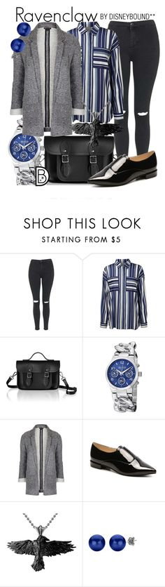 """""""Ravenclaw"""" by leslieakay ❤ liked on Polyvore featuring Topshop, Lipsy, The Cambridge Satchel Company, SO & CO, Nine West and harrypotter"""
