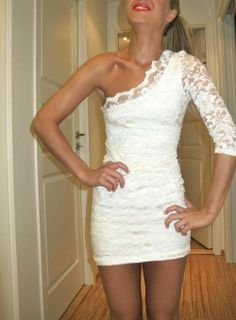 One shoulder white lace dress.
