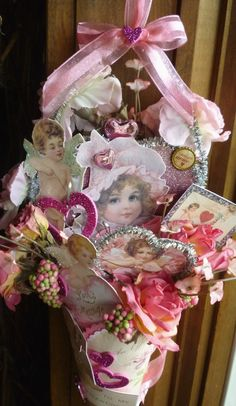 Victorian Valentine Cone Ornament ~ This would be a great DIY gift or decoration!