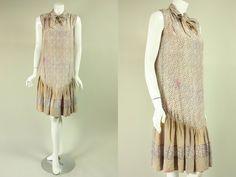 Vintage 1920's DOTTTED SILK DRESS Drop Waist Gathered Skirt Bow Great Gatsby Era