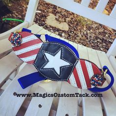 Magics Custom Tack 4th of July rodeo patriotic red white and blue American Flag Bronc Halter Www.magicscustomtack.com