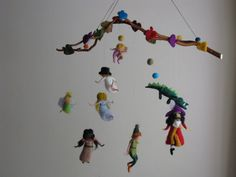 peter pan nursery | Peter pan and his friends needle felted mobile by Made4uByMagic