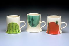 "Courtney Murphy  ""Three Mugs"",  2007,    4"" x 4 ½"" x 3 ½"" each"