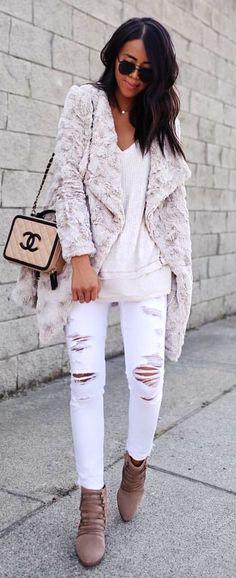 #fall #outfits  women's white fleece cardigan