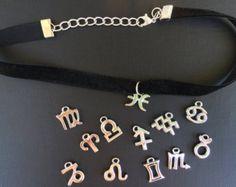 90s grunge – Etsy ES zodiac sign pendant black velvet choker ♥