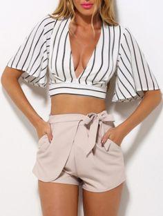 60% off Deep V Neck Vertical Striped Lace Up Crop Shirt