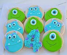 Imagen relacionada Monster Inc Birthday, Monster 1st Birthdays, Monster Inc Party, Minion Birthday, Baby 1st Birthday, First Birthdays, Cookies For Kids, Cute Cookies, Monsters Inc Cookies