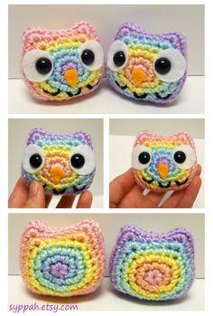 McA inspiration for my creating - #owl #rainbow #mcadirect Pastel Rainbow Owls - Crocheted Plushies by syppah.deviantart.com