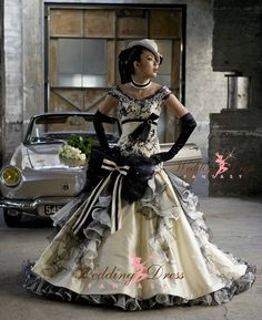 Steampunk Wedding Dress from WeddingDressFantasy.com #steampunk - ☮k☮ black and white