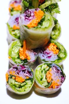 These were a big hit - Veggie rice paper rolls with red cabbage, carrot, bean thread noodles & cuke.. with peanut dipping sauce.  Looks like sushi.  Great for the vegetarians and health conscious
