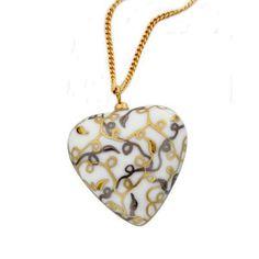 Tentation d'Or Golden Heart Necklace in Limoges Porcelain