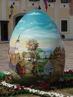 Naive art Easter egg . Croatia. 2009