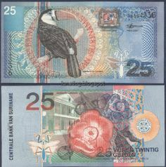 Suriname Paper Money, Beautiful Bird and Flower Note Money Notes, Old Money, Thinking Day, World Coins, Fauna, History, Illustration, College Degrees, Design Art