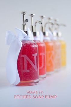 Cheap DIY Gifts and Inexpensive Homemade Christmas Gift Ideas for People on A Budget - DIY Monogram Soap Bottles - To Make These Cool Presents Instead of Buying for the Holidays - Easy and Low Cost Gifts for Mom, Dad, Friends and Family - Quick Dollar Store Crafts and Projects for Xmas Gift Giving Parties - Step by Step Tutorials and Instructions http://diyjoy.com/cheap-holiday-gift-ideas-to-make