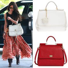 Dolce and Gabbana Miss Sicily Top Handle Leather Satchel carried by Selena Gomez