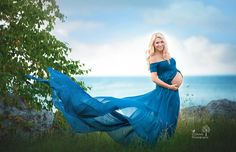 Mallory Gown / Sheer Chiffon Off the Shoulder Short Sleeve Maternity gown / Maternity Dress/ Maxi Dress/ Senior photo shoot / Modeling