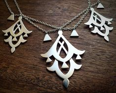 Moroccan geometry statement necklace