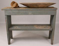 primitive bucket | 174: Primitive Painted Bucket Bench and woodenware
