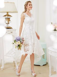 Princess V-neck Asymmetrical Lace Wedding Dress with Appliques by LAN TING BRIDE® - USD $89.99 ! HOT Product! A hot product at an incredible low price is now on sale! Come check it out along with other items like this. Get great discounts, earn Rewards and much more each time you shop with us!