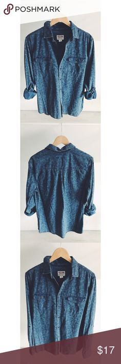 Mossimo Supply Co Faded Floral Chambray Shirt Beautiful denim shirt with a soft Floral pattern overlay. Some fading in the material for a lived in look. Longer length with a flattering cut. Perfect for year round wear! Gently used. Great condition. Mossimo Supply Co Tops Button Down Shirts