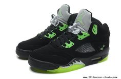 Air Jordan 5 Retro Black Green Mens Sneakers Cheap