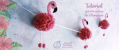 Tutorial de flamencos de lana y fieltro - Puntos de Fantasía Creative Crafts, Diy Crafts, Flamingo Craft, Color Rosa Claro, Hobbies And Crafts, Crochet Earrings, Snoopy, Halloween, Ideas Aniversario