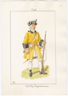 Royal Lorraine Regiment of Foot 1745 by Charles Lyall Louis Xiv, Frederick The Great, Seven Years' War, 18th Century Clothing, French Army, American Revolution, Military History, Sailor, Military Uniforms