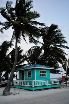 A small house with BIG personality. Sunset on Caye Caulker, Belize by OverYonderlust.com>>> Love this house!