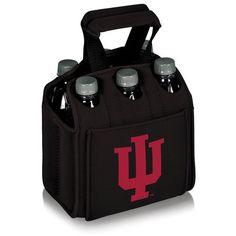 Six Pack Beverage Carrier - Black (Indiana University - Hoosiers) Digital Print
