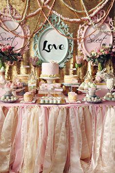 Marie Antoinette inspired cake table, photo by Sonya Khegay http://ruffledblog.com/romantic-moscow-wedding #cakes #wedding