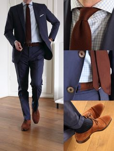 blue suit, brown shoes, spread collar