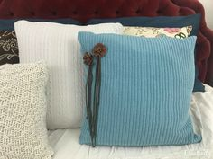 Pretty blue upcycled sweater pillow- DIY tutorial