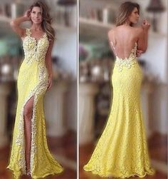 Sexy Front Open Lace Dress Yellow Prom Dresses