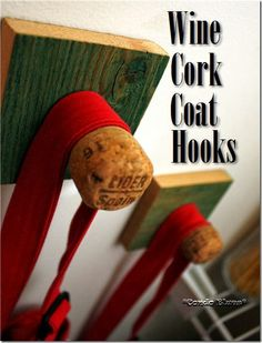 how to make a wine cork coat hook or coat rack #DIY