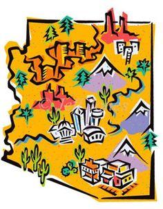 State of Arizona Map Stock Art Illustration, Jeff Jones Illustration - Highlights all the main points of AZ