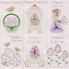 Embroidery Paper Value Pack No. Easter in Easter patterns at Stitching Cards - ePatterns for paper embroidery Embroidery Cards, Learn Embroidery, Embroidery Stitches, Embroidery Patterns, Hand Embroidery, Cross Stitch Patterns, Heart Pop Up Card, Sewing Cards, Crochet Hook Set