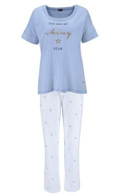 a10c698f30 Lascana 100% Cotton Short Sleeve Blue Pyjamas - 6 8 10 12 14