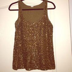 Brown sequins shirt Racer back tank, sequins brown top J. Crew Tops Tank Tops