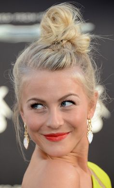 Julianne Hough's topknot and bright lips.