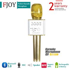 Portable Wireless Karaoke Microphone / FOJNY Bluetooth Handheld Speaker / Q9 Karaoke Stereo Player for Music Playing, Mini Home KTV Karaoke for Apple Iphone Android Smartphone or PC (Q9 Gold)