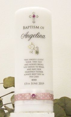 mini Kreuz Altrosa NEU Angelina Patenkerze Godfather Candle