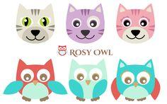 Rosy Owl: Wykrojniki do filcu - sowa/kot i aparat