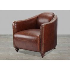 Brown Leather Club Chair With Nail Heads #SilverCoastCompany