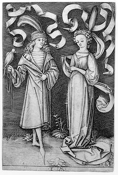 The Falconer and the Lady, from the series Scenes of Daily Life israhel van Meckenem c 1495