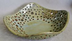 Stoneware Bread Basket or Fruit Bowl in Pale Lime by LisaMelitaArt