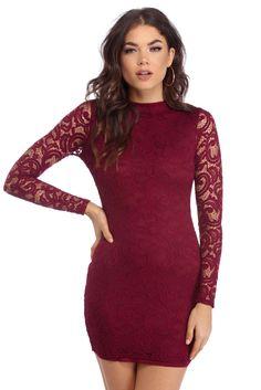 Burgundy Classy Lady Lace Mini