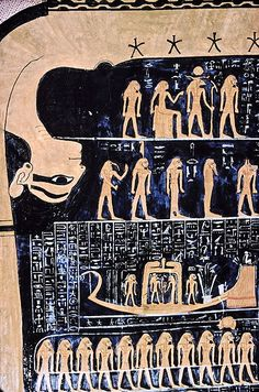 Egyptian astronomy - Nut, Egyptian goddess of the sky, with the star chart in the tomb of Ramses VI. Ancient Aliens, Ancient Art, Ancient History, Egyptian Mythology, Egyptian Goddess, Nut Goddess, Ancient Egyptian Medicine, Valley Of The Kings, Dragons